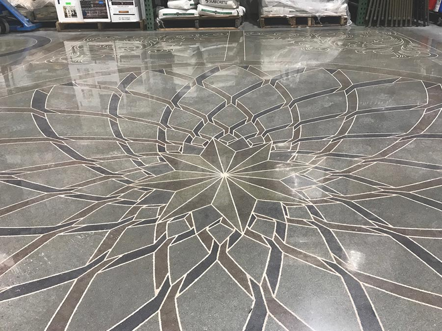 warehouse floors featuring Venetian-inspired designs